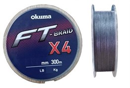 OKUMA FT-X4 BRAİDED LİNE 300 MT GREY ÖRGÜ İP MİSİNA # 0,235 MM